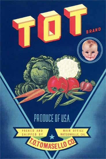 Crate Label for Tot Vegetables--Art Print