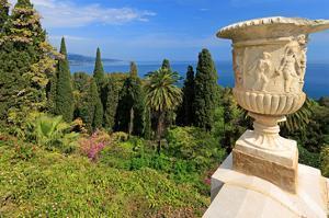 Crater at Hanbury Botanic Gardens near Ventimiglia, Province of Imperia, Liguria, Italy