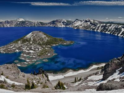 Crater Lake and Wizard Island, Looking East Toward Mount Scott on Far Side-Ellen Bishop-Photographic Print