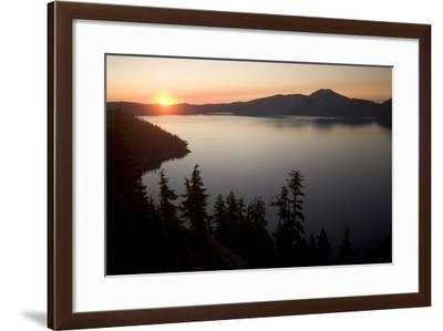 Crater Lake in Crater Lake National Park at Sunrise-Phil Schermeister-Framed Photographic Print