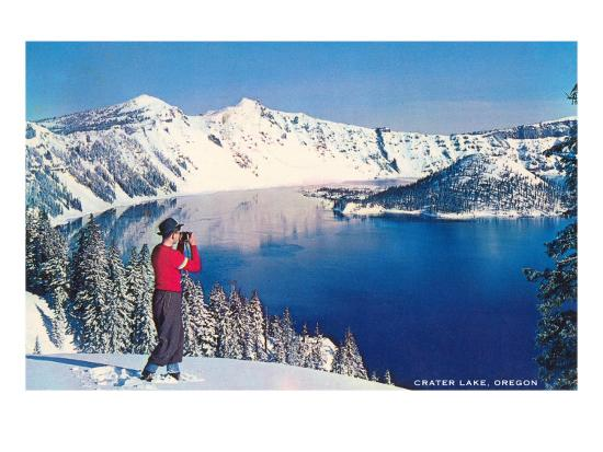Crater Lake in Winter, Oregon--Art Print