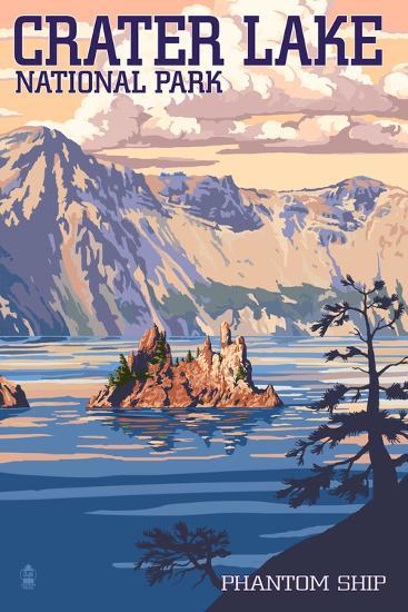 Crater Lake National Park, Oregon - Shoreline and Sunset-Lantern Press-Art Print
