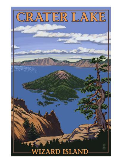 Crater Lake, Oregon - Wizard Island View, c.2009-Lantern Press-Art Print