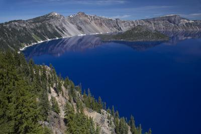 Crater Lake Showing Wizard Island (Volcanic Cone)