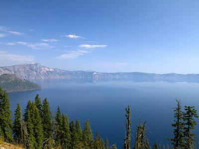 Crater Lake Shrouded in Smoke from Forest Fires, Crater Lake Nat'l Park, Southern Oregon, USA-David R^ Frazier-Photographic Print