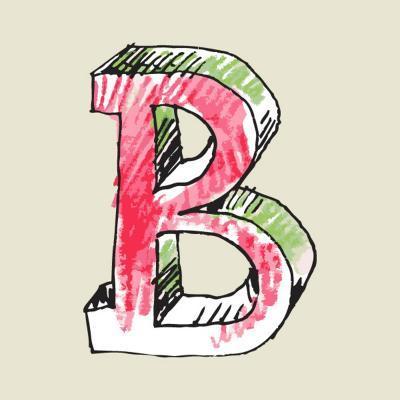 Crayon Alphabet, Hand Drawn Letter B-Andriy Zholudyev-Art Print