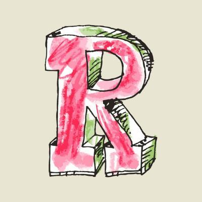 Crayon Alphabet, Hand Drawn Letter R-Andriy Zholudyev-Art Print