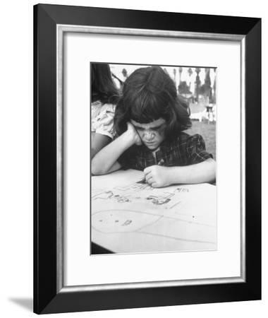 Crayon Artist Working at Her Drawing-Ed Clark-Framed Photographic Print