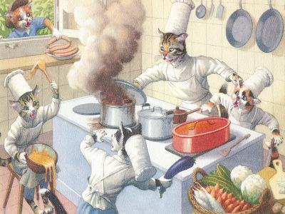 Crazy Cat Chefs In The Kitchen-Found Image Press-Art Print