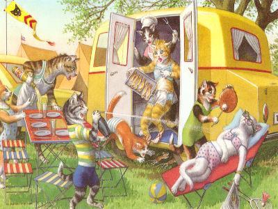 Crazy Cat Picnic-Found Image Press-Art Print