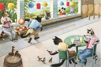Crazy Cats at Bowling Alley--Art Print