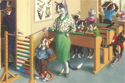 Crazy Cats at School--Art Print