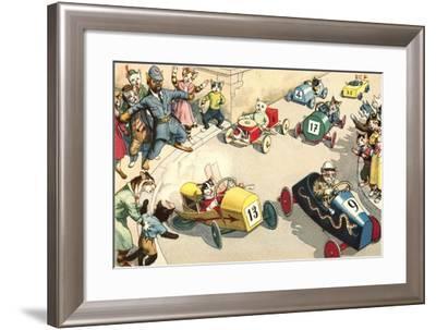 Crazy Cats at Soap Box Derby--Framed Art Print