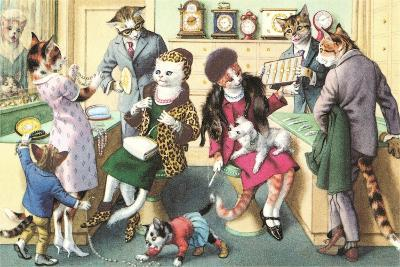 Crazy Cats at the Jewelry Store--Art Print