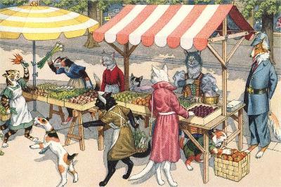 Crazy Cats at the Market--Art Print
