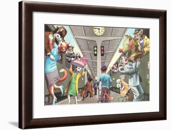 Crazy Cats Boarding the Train--Framed Art Print