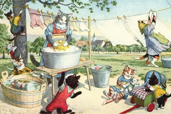 Crazy Cats Hanging Up Laundry--Art Print