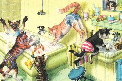 Crazy Cats in Bathtub--Art Print