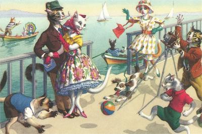 Crazy Cats on the Ocean Pier--Art Print