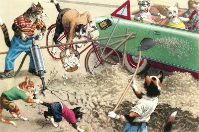Crazy Cats Road Maintenance--Art Print
