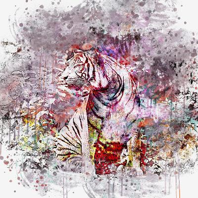 Crazy Tiger - Square-Lebens Art-Art Print