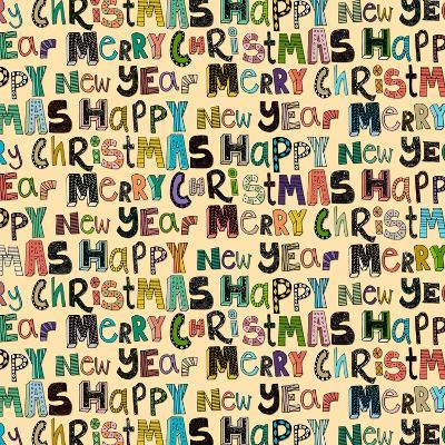 Cream Merry Christmas Happy New Year (Variant 1)-Sharon Turner-Art Print