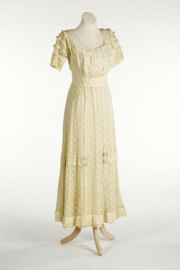 Cream Net Dress Decorated with Machine-Stitched Spot Design--Giclee Print