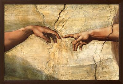 Creation of Adam, c.1510-Michelangelo Buonarroti-Framed Textured Art