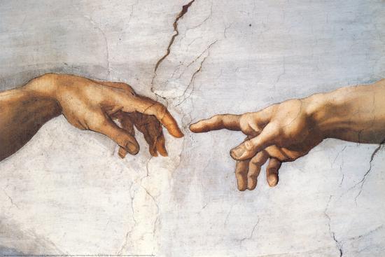Creation of Adam Detail Hands-Michelangelo Buonarroti-Art Print