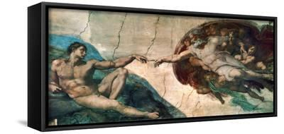 Creation of Adam-Michelangelo Buonarroti-Framed Canvas Print