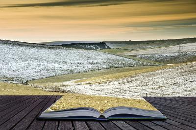 Creative Concept Idea of Winter Landscape Coming out of Pages in Magical Book-Veneratio-Photographic Print