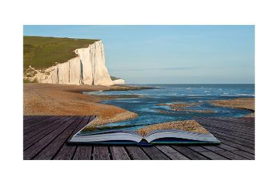 Creative Concept Image Of Seascape In Pages Of Book-Veneratio-Art Print