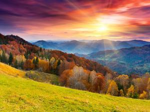 The Mountain Autumn Landscape with Colorful Forest by Creative Travel Projects