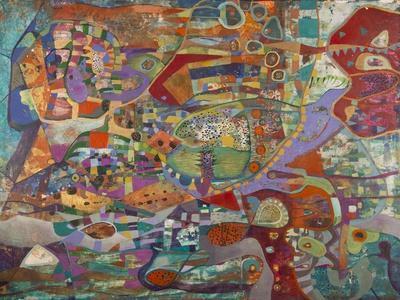 Creatures in Red and Green-Alise Loebelsohn-Art Print