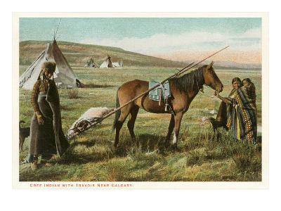 Cree Indian with Travois--Art Print
