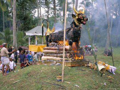 Cremation at Funeral Ceremony, Island of Bali, Indonesia, Southeast Asia-Bruno Morandi-Photographic Print