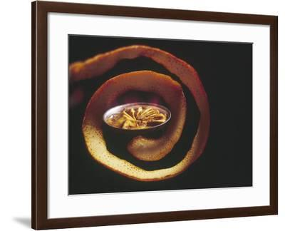 Crepes Suzette Simmering in Pan of Cointreau Surrounded by Swirl of Orange Peel-John Dominis-Framed Photographic Print