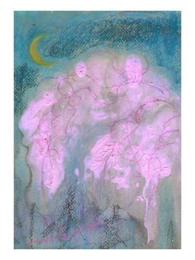 Crescent and Cherry Blossoms in the Evening-Mariko Miyake-Giclee Print