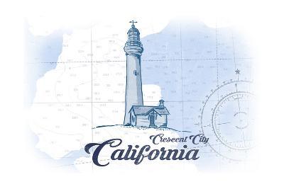 Crescent City, California - Lighthouse - Blue - Coastal Icon-Lantern Press-Art Print
