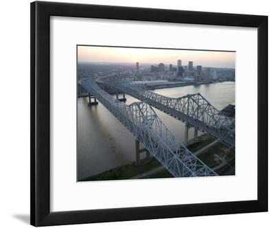 Crescent City Connection Bridge and View of Downtown New Orleans-Tyrone Turner-Framed Photographic Print