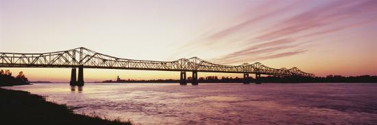 Crescent City Connection Bridge, Mississippi River, Natchez, Mississippi, USA--Photographic Print