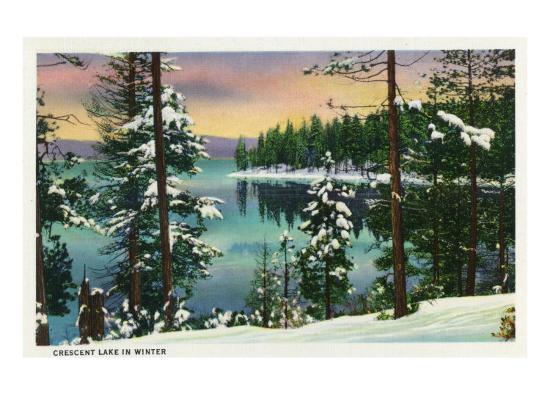 Crescent Lake, Oregon - View of the Lake During the Winter, c.1936-Lantern Press-Art Print