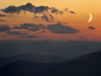 Crescent Moon at Sunset over the Blue Ridge Mountains-Amy & Al White & Petteway-Photographic Print
