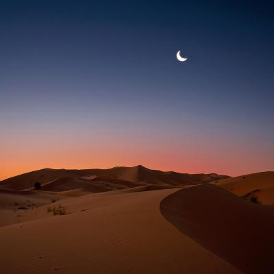 Crescent Moon over Dunes-Photo by John Quintero-Photographic Print