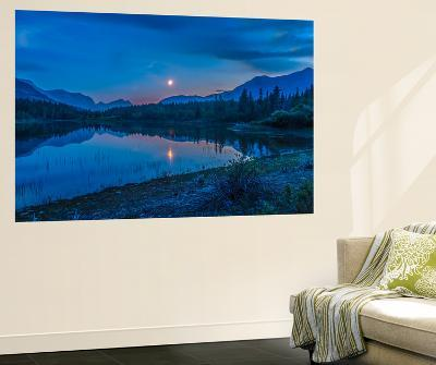 Crescent Moon over Middle Lake in Bow Valley Provincial Park, Alberta, Canada-Stocktrek Images-Wall Mural
