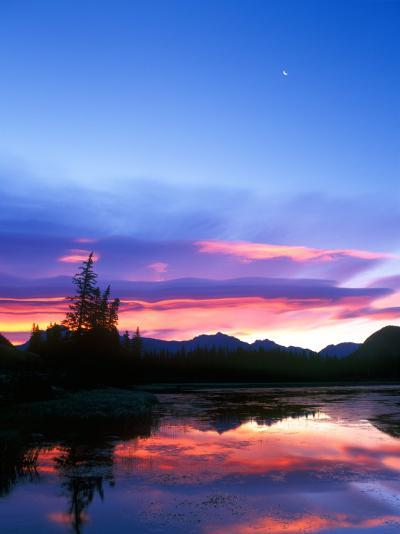 Crescent Moon Over Vermillion Lake in Banff National Park, Alberta, Canada-Rob Tilley-Photographic Print