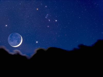 Crescent Moon with Earthshine Above a Cloud Layer with the Constellation Orion-David Nunuk-Photographic Print