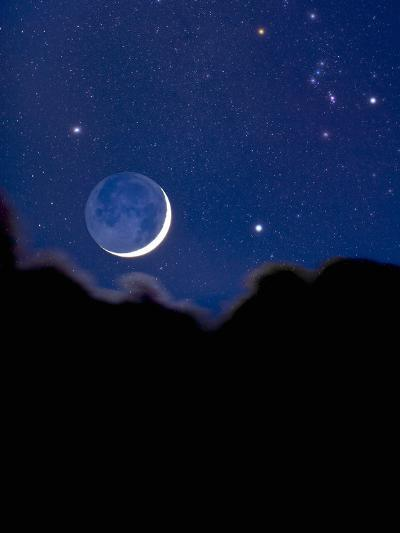 Crescent Moon with Earthshine and the Constellation Orion-David Nunuk-Photographic Print