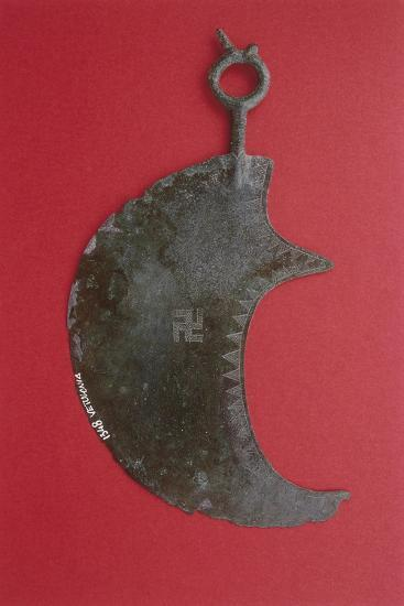 Crescent Shaped Bronze Razor with Engraving Depicting a Swastika from Vetulonia--Giclee Print