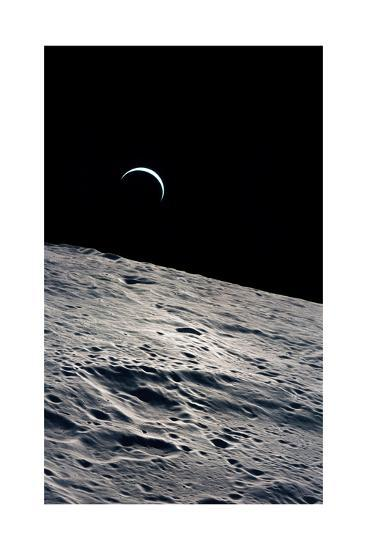 Cresent Earth, As Seen From the Moon--Giclee Print